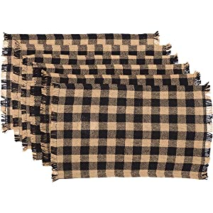 "VHC Brands Classic Country Primitive Tabletop & Kitchen-Burlap Check Fringed Placemat Set of 6, 12"" x 18"", Ebony Black"