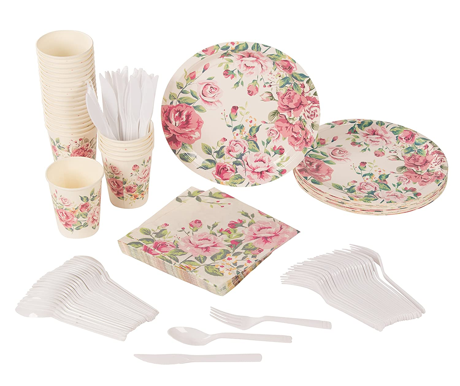 Disposable Dinnerware Set - Serves 24 - Vintage Floral Party Supplies for Birthdays, Bridal Showers, Weddings - Includes Plastic Knives, Spoons, Forks, Paper Plates, Napkins, Cups