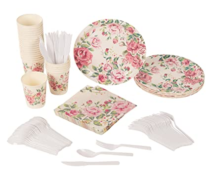disposable dinnerware set serves 24 vintage floral party supplies for birthdays bridal showers