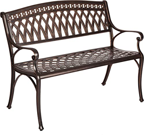 Patio Sense 62441 Simone Cast Aluminum Patio Bench, Antique Bronze