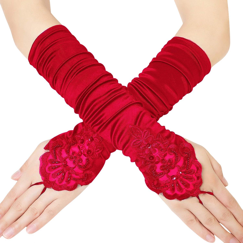 Coucoland Damen Kurze Satin 1920s Handschuhe Dekoriert mit Spitzen und Strass Gotische Halbhandschuhe f/ür Opera Fest Retro Hochzeit Damen Fasching Kost/üm Accessoires