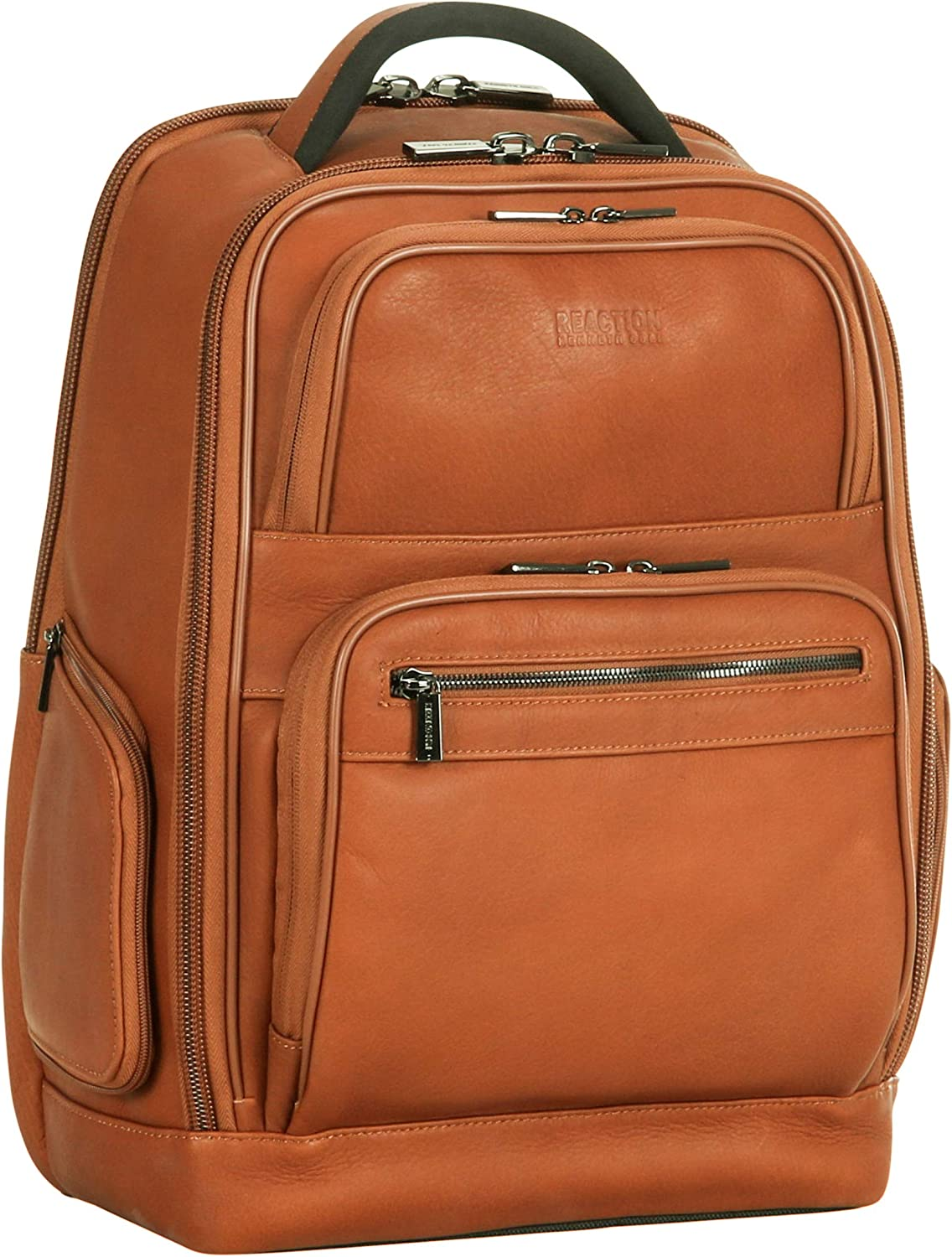 "Kenneth Cole Reaction Colombian Leather 15.6"" Laptop Anti-Theft RFID Business Backpack, Cognac"