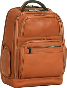 """Kenneth Cole Reaction Colombian Leather 15.6"""" Laptop Anti-Theft RFID Business Backpack, Cognac"""
