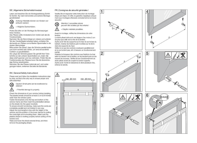 Amazon.de: DecoProfi Plissee Grau, verspannt, Breite 75cm x220cm ...