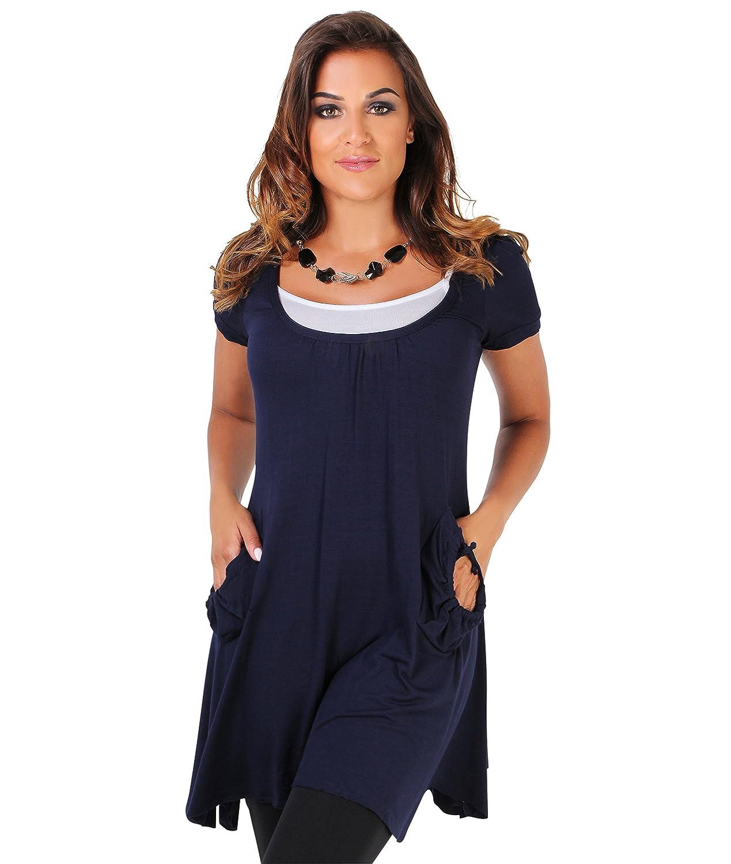 KRISP Women's Casual Summer 2 in 1 Pleated Boho Gypsy A Line Tunic Dress