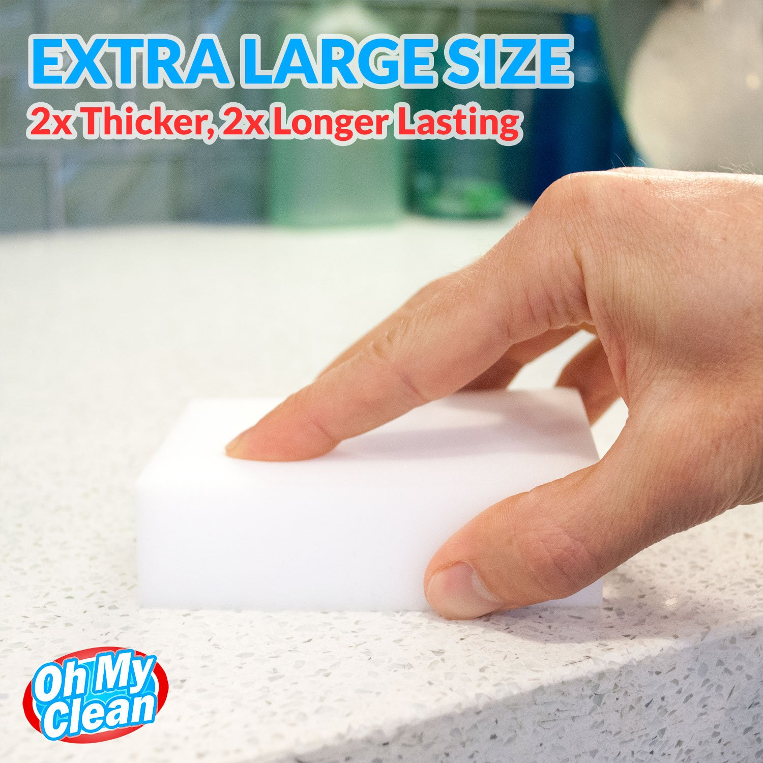 (40 Pack) Extra Large Magic Cleaning Eraser Sponge - 2X Thick, 2X Longer Lasting Melamine Sponges in Bulk - Multi Surface Power Scrubber Foam Pads - Bathtub, Floor, Baseboard, Bathroom, Wall Cleaner by Oh My Clean (Image #4)