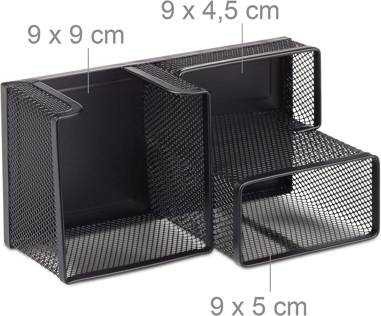 Metall Mesh HBT: 10x18,5x9,5cm B/üroablage mit Stiftehalter und Zettelhalter Relaxdays Schreibtischorganizer schwarz