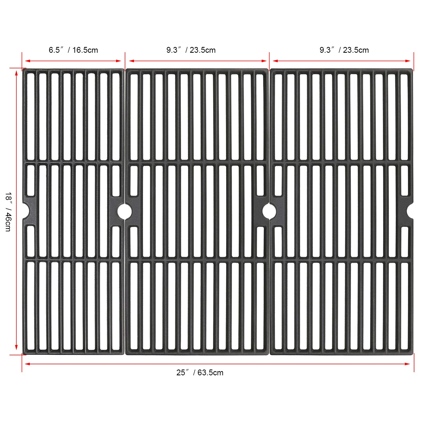 Uniflasy 18 Inches Cast Iron Cooking Grid Grates for Charbroil Performance 463376018P2, 463376117, 463377117, 463673617, 463377017, 463347017 4-Burner 475 Cart Liquid Propane Gas Grill Models by Uniflasy