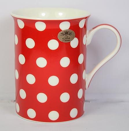 Cascade Spotted Mug (Red, White Spots, Polka Dots) 10x8cm, Fine ...