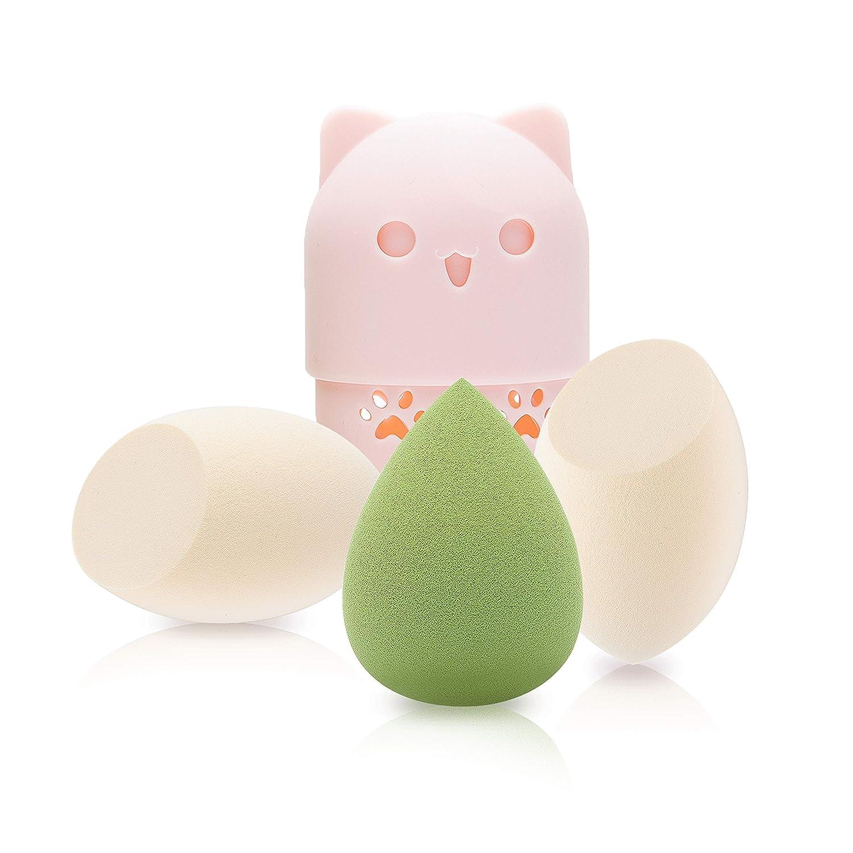 3+1Pcs Makeup Sponge Set Blender Beauty Foundation Blending Sponge,PINK TRAVEL CASE,White Green