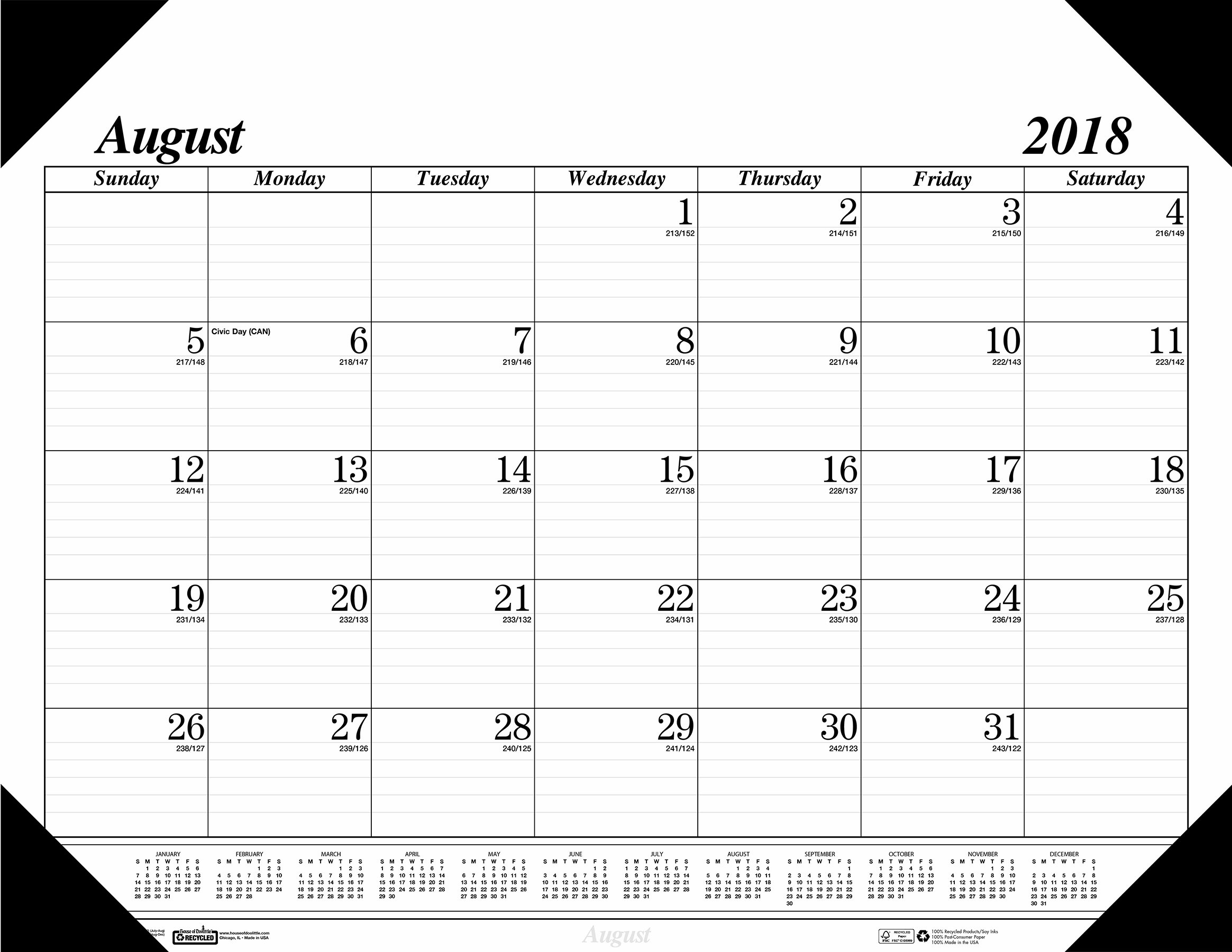 House of Doolittle 2018-2019 Monthly Desk Pad Calendar, Academic, 17 Month, 22 x 17 inches, August - December (HOD12802-19)