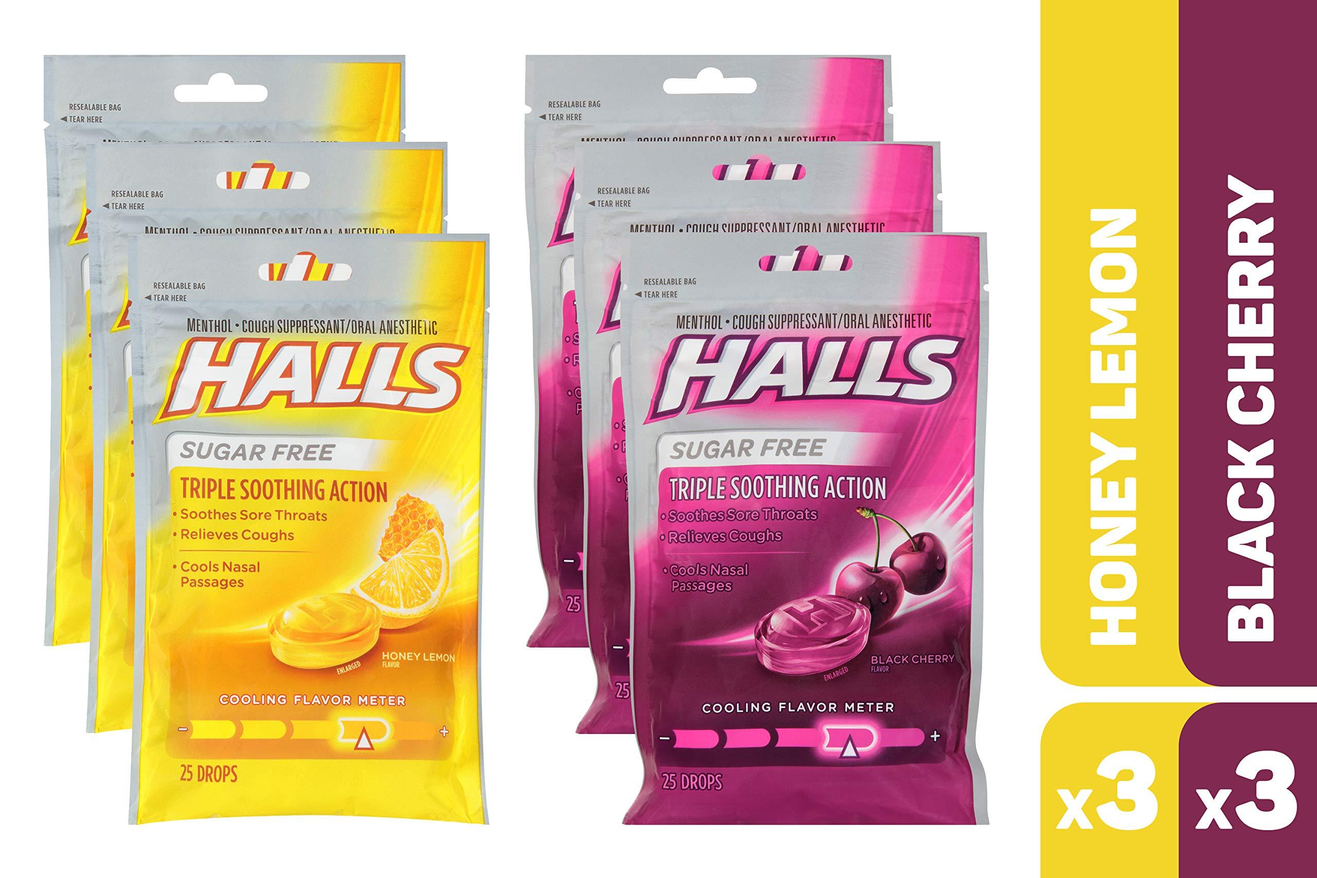HALLS Sugar Free Cough Drops Honey Lemon & Black Cherry Variety Pack - 150 total drops by Halls (Image #1)