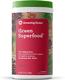 product image for Amazing Grass Green Superfood: Super Greens Powder with Spirulina, Chlorella, Digestive Enzymes & Probiotics, Berry, 60 Servings