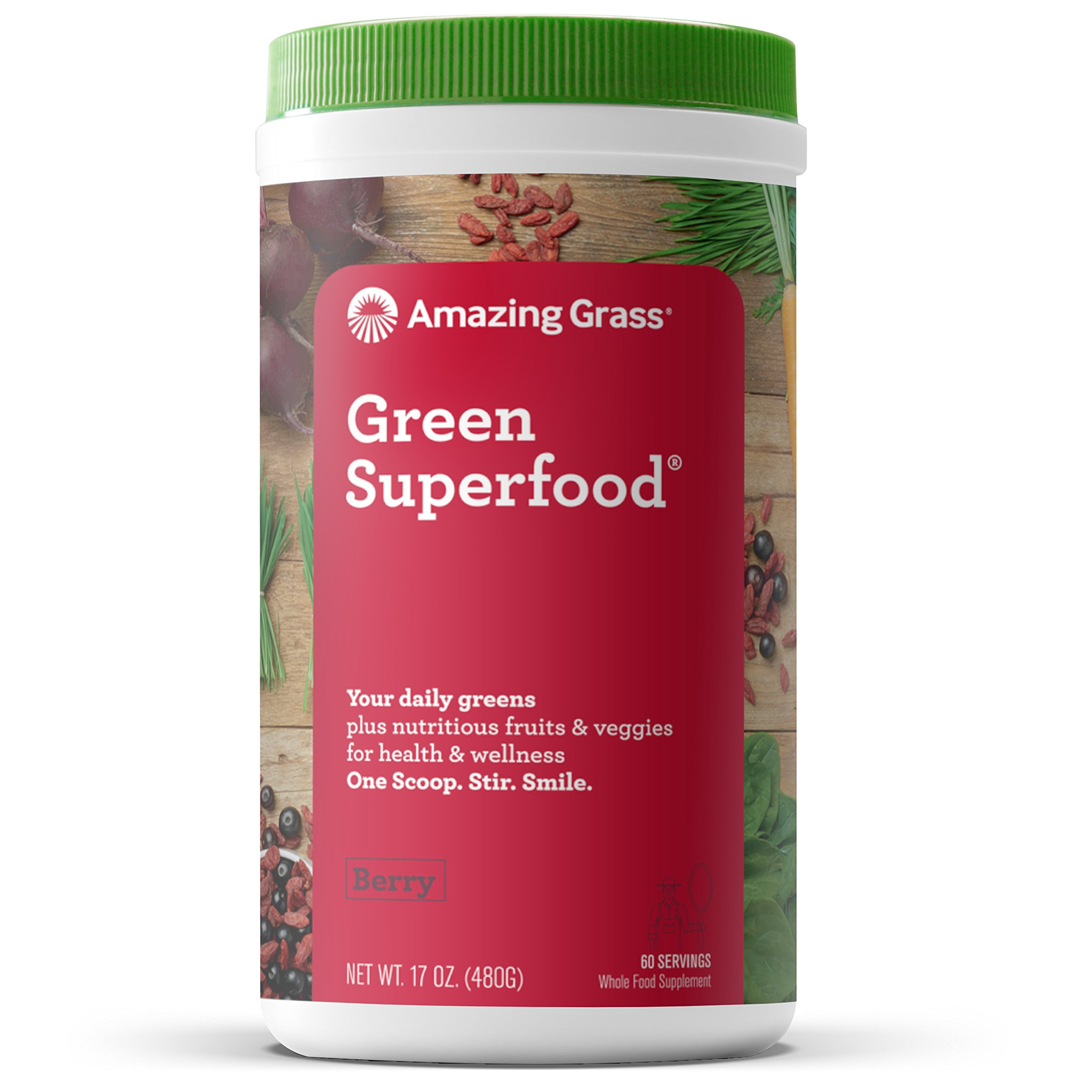 Amazing Grass Green Superfood Organic Powder with Wheat Grass and Greens, Flavor: Berry, 60 Servings