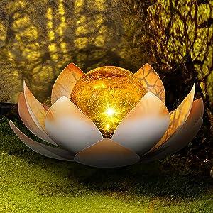 Huaxu Solar Powered Garden Lights, Outdoor Decorative Lotus Light, Art Cracked Glass Ball Metal Waterproof Solar Garden Light for Pathway, Lawn, Patio, Yard