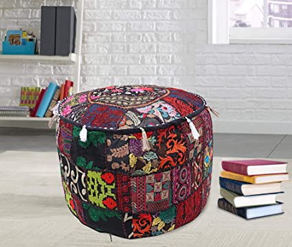 Brilliant Amazon Com Patchwork Round Ottoman Pouffe Bohemian Indian Caraccident5 Cool Chair Designs And Ideas Caraccident5Info