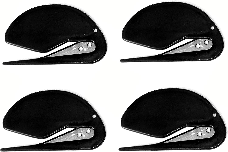 ALAZCO 4 World's Most Efficient Letter Opener Plastic Razor Blade Parcel Envelope Slitter Set in Sharp (Black)
