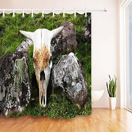 Remarkable Amazon Com Lb Western Cow Skull Decor Bath Curtain Download Free Architecture Designs Scobabritishbridgeorg