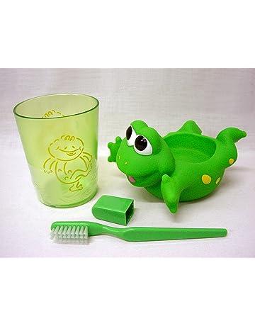 WORKING HOUSE (Baño / Accesorios Plástico) Juego Vaso Y Cepillo Dientes Infantil Goma Dura