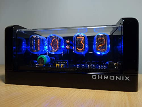Vintage Nixie Tube Clock with 4xIN-12 displays Alarm Blue Backlight Black Glossy Wooden case CHRONIX