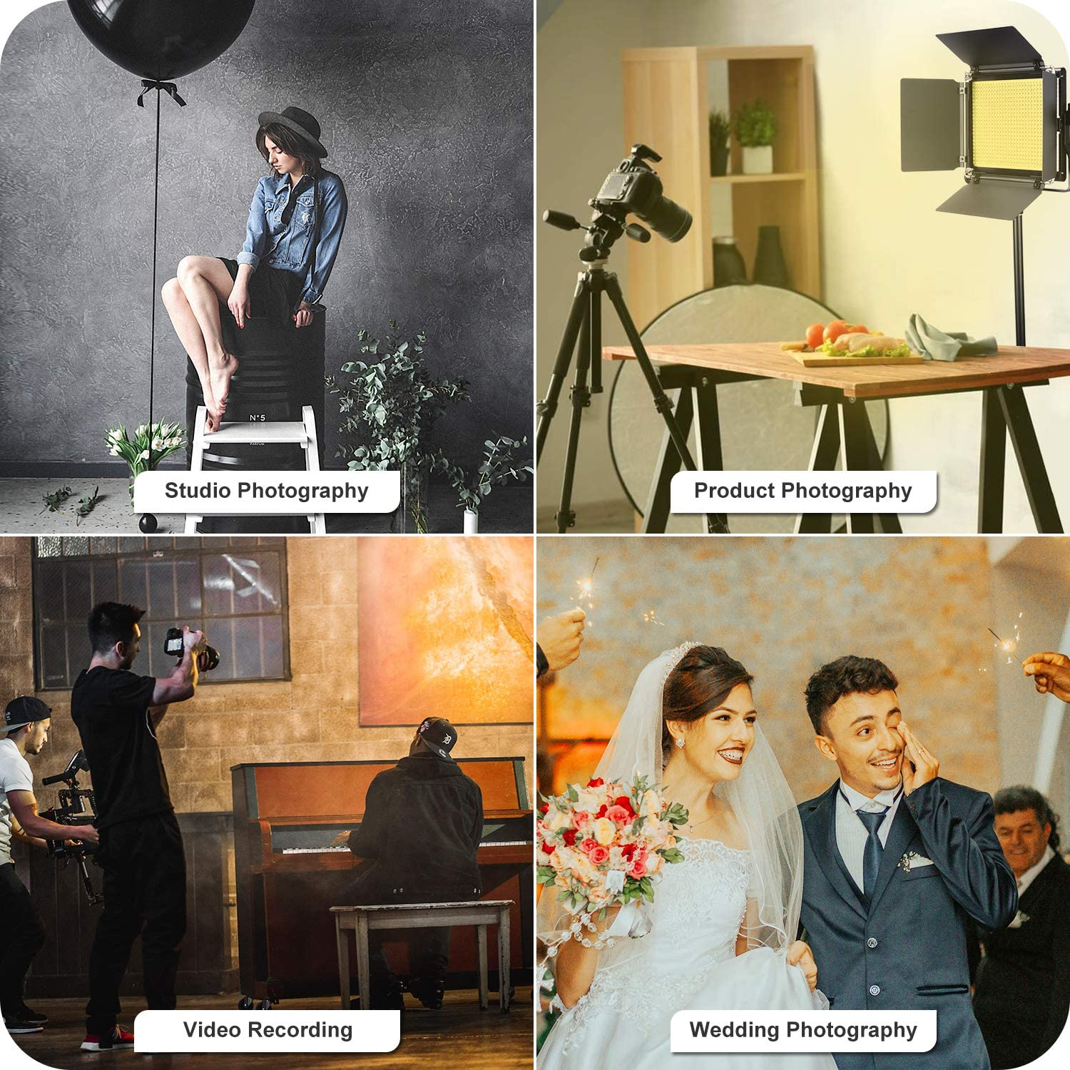3200-5600K Dimmable CRI96+ Light with U Bracket and Barndoor 1 2 2 8-Color Filter Set Large Carrying Bag for Studio Video Shooting 2 Light Stand Neewer 2 Packs 660 LED Video Light with Stand Kit: