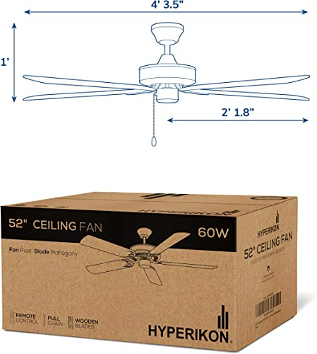 Hyperikon 52 Inch Ceiling Fan No Light