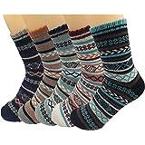 Men's Wool Knitting Socks Winter Warm Cashmere Socks Vintage Style Mixed Color Socks 5 Pairs