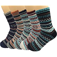 Men's Wool Knitting Socks Winter Warm Cashmere Socks Vintage Style Mixed Color Socks 5 Pairs