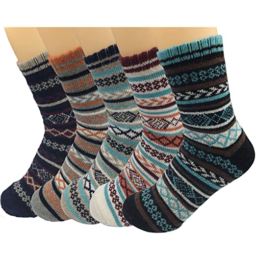 d3f17960bd874 Men's Wool Knitting Socks Winter Warm Cashmere Socks Vintage Style Mixed  Color Socks 5 Pairs (