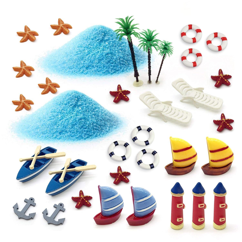ornerx Miniature Garden Ornament Kit Summer Beach 34 Pcs