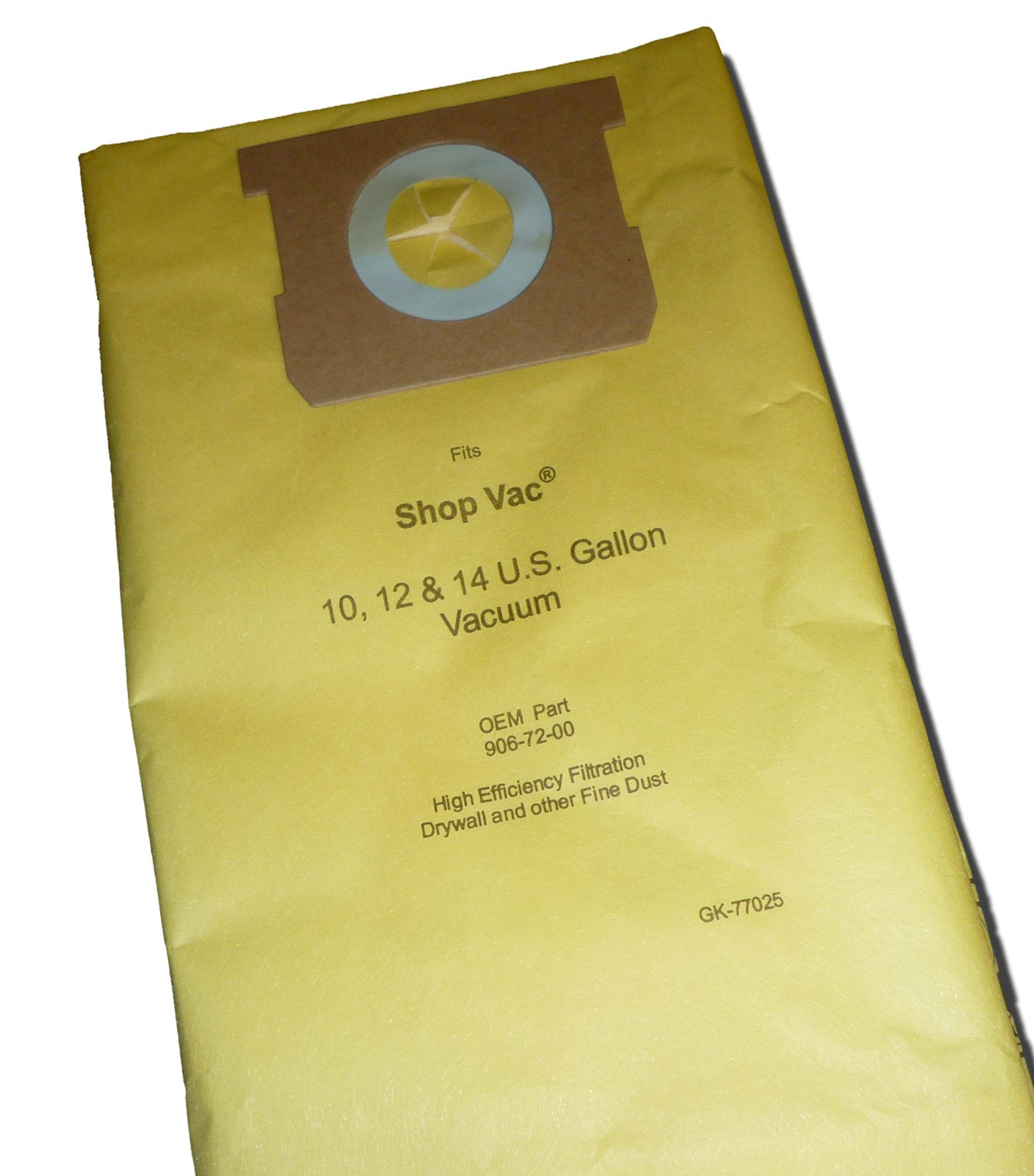 10 Count Shop Vac 10 - 14 Gallon / High Efficiency 770-25 Replacement Paper Filter Bag for Drywall Dust by Green Klean®