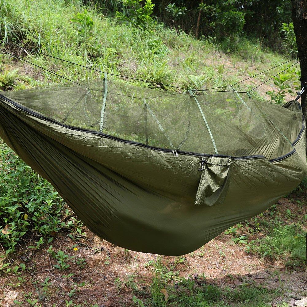 キャンプテントハンモック、ダブル人キャンプテントハンモックプロフェッショナルグレードリップストップナイロン強度ツリーFriendlyストラップwith Mosquito Net forアウトドアガーデンジャングル B073XKB752  ミリタリーグリーン