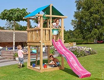 Jungle Gym Jungle Hut Fucsia Parques Infantiles de Madera para Jardin con Tobogan: Amazon.es: Juguetes y juegos