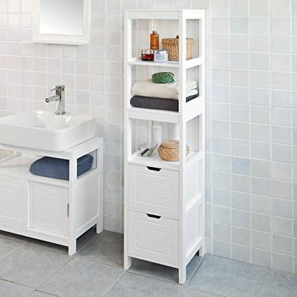 Amazon Com Haotian Frg126 W White Floor Standing Tall Bathroom