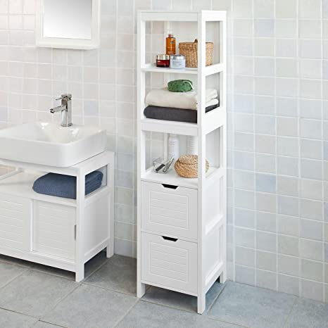 Haotian FRG126 W White Floor Standing Tall Bathroom Storage Cabinet With 3 Shelves And 2 Drawers Linen Tower Bath Cabinet Cabinet With Shelf