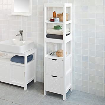 Haotian FRG126 W, White Floor Standing Tall Bathroom Storage Cabinet With 3  Shelves And