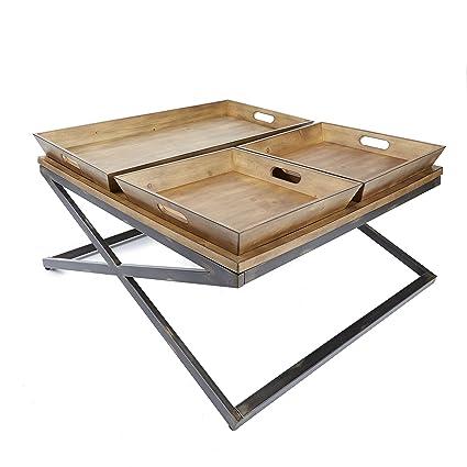 Silverwood FT1150 COM Calhoun Industrial Collection Coffee Table, 38u0026quot;  L X 38u0026quot;