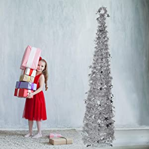 Indoor Christmas Tree Decorations, 5ft Vintage Cute Skinny Small Pop up Xmas Tree Decor for The Home Bedrooms Office(Silver)