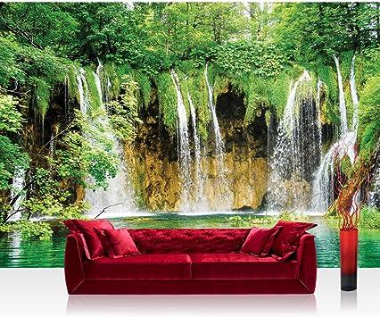 1617 Fototapete Wasserfall See Bäume Blätter liwwing no