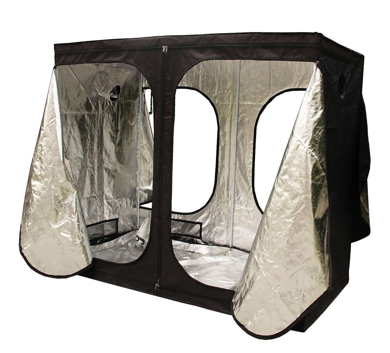 FoxHunter New Design Quality Portable Grow Tent Silver Mylar Green Room Hydroponic Bud Room Dark Room 240cm x 120cm x 200cm for Gardening Hydroponics
