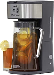 West Bend IT500 Iced Tea Maker or Iced Coffee Maker Includes an Infusion Tube to Customize the Flavor and Features Auto Shut-Off, 2.75 Quart, Black