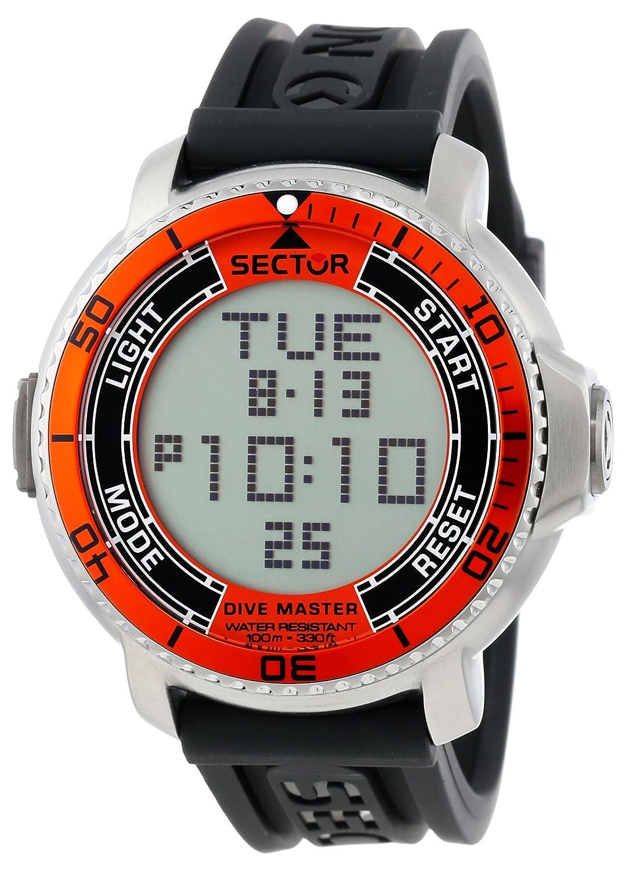 Sector R3251967001 - Reloj digital de cuarzo para hombre con correa de caucho, color negro