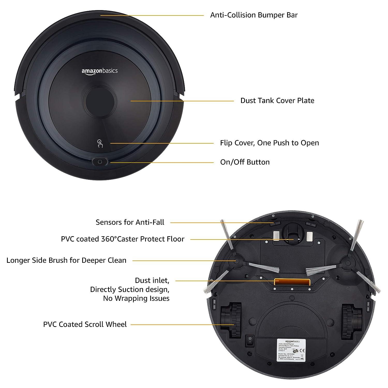 AmazonBasics - Robot aspirador fino, 18 W (800 Pa), con 4 ...