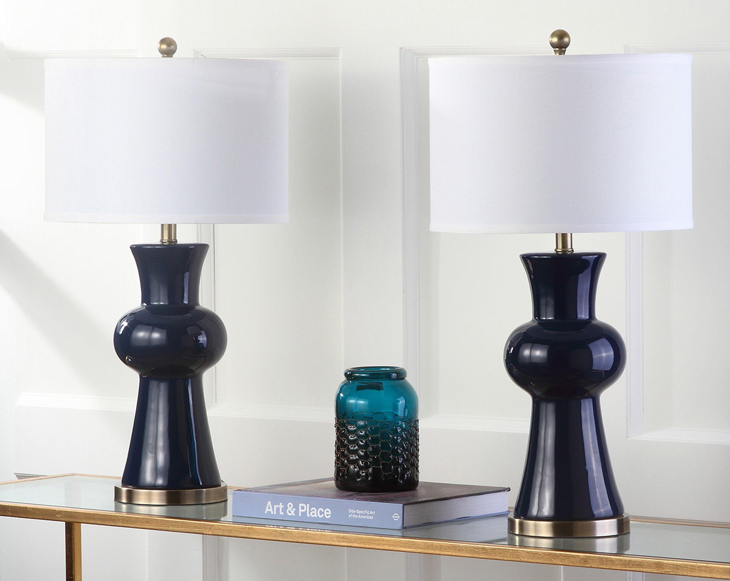 Safavieh Lighting Collection Lola Column Navy 30-inch Table Lamp (Set of 2)