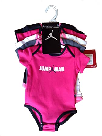 4ff272bd44ba Nike Jordan Infant New Born Baby Girl Lap Shoulder Bodysuit 5 PCS with  Different Color and