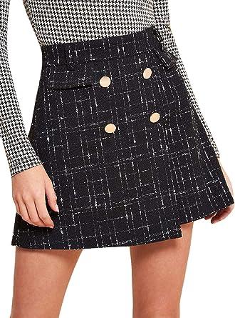 SheIn Mini Jupe Courte Courte en Tweed pour Femme Taille Haute au Dessus du Genou avec Fermeture Éclair à l'arrière