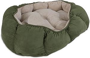 Aspen Pet Overstuffed Oval Bed, 34 x 27, Assorted Navy Blue/Burgundy/Dark Brown/Green