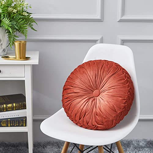 Cassiel Home Orange Throw Pillows, 14.5 Pintuck Round Throw Pillow Large Handcrafted Orange Pumpkin Velvet Floor Pillow Cushion for Chair Couch Solid Orange