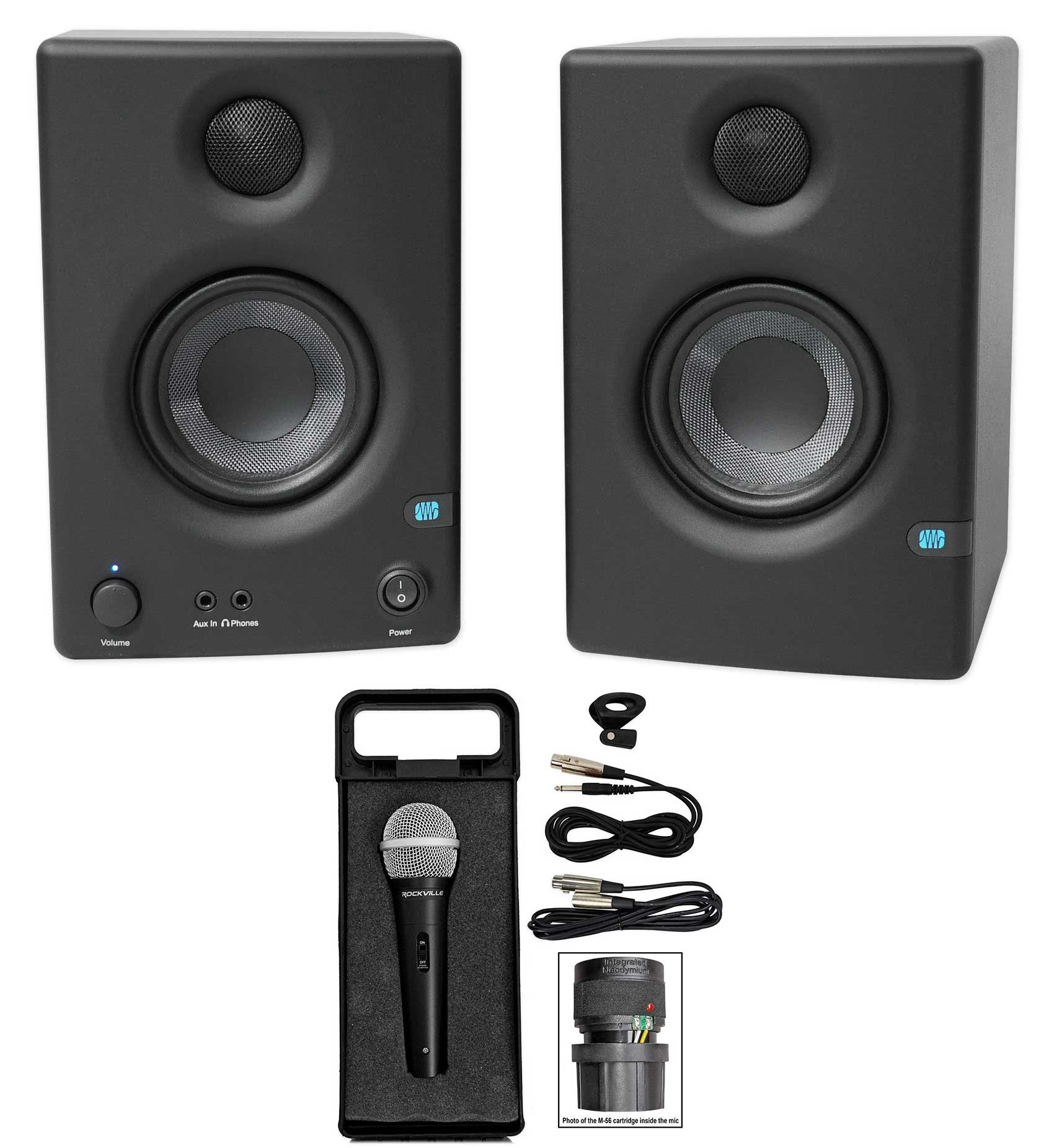 Pair Presonus Eris E3.5 3.5'' Powered Studio Monitor Speakers+Microphone+Case by PreSonus