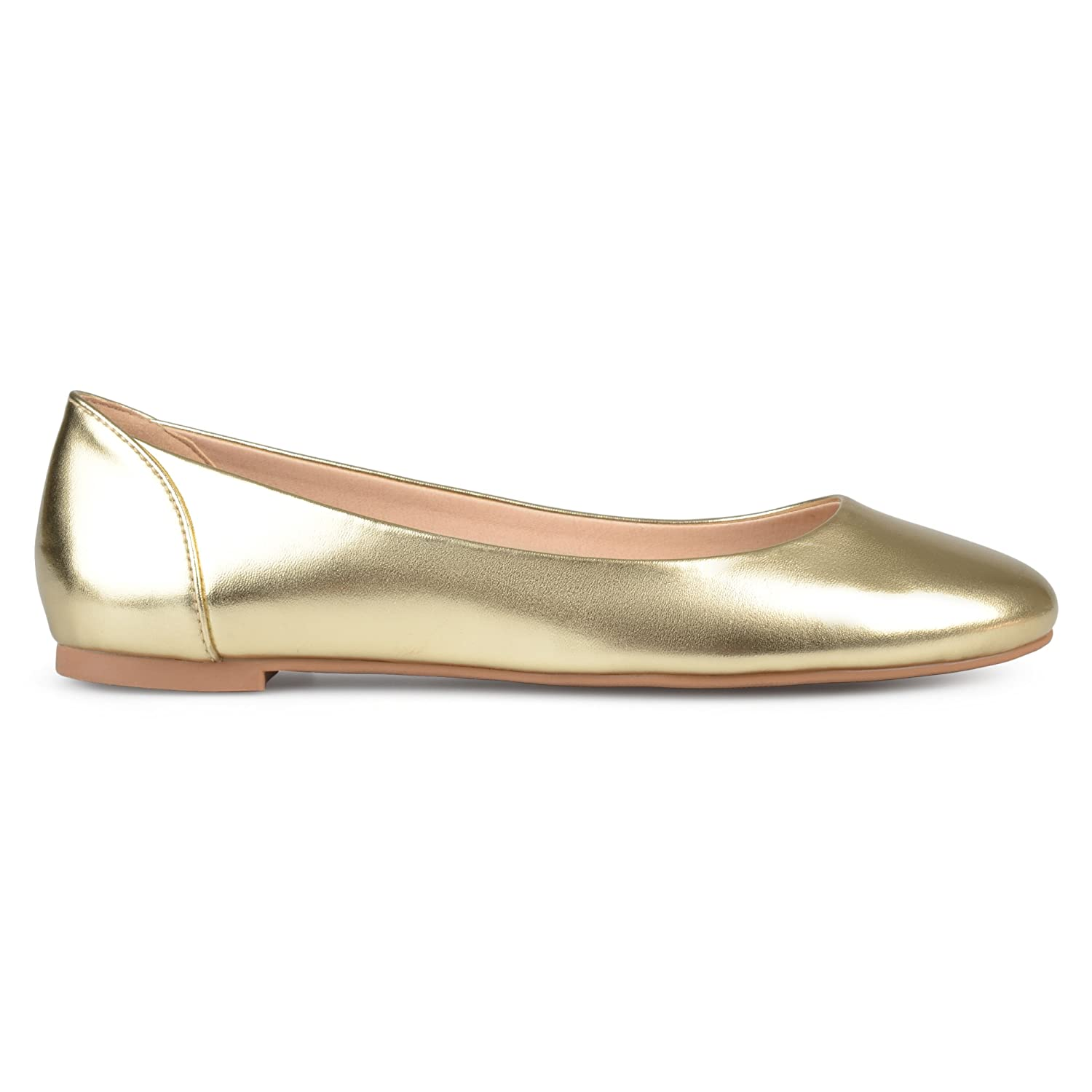 Brinley Co Womens Comfort Sole Faux Leather Round Toe Flats B073VSMRXY 8 B(M) US|Gold